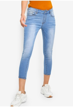 9d6ce2c8 Something Borrowed blue Cropped Washed Skinny Jeans FAC51AA2FF559CGS_1