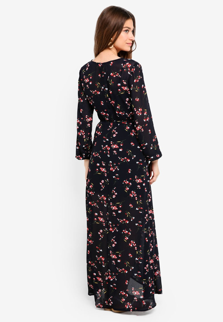 Wrap Borrowed Navy 2 Dress in Print Maxi 1 Something Based nwHaaqBC