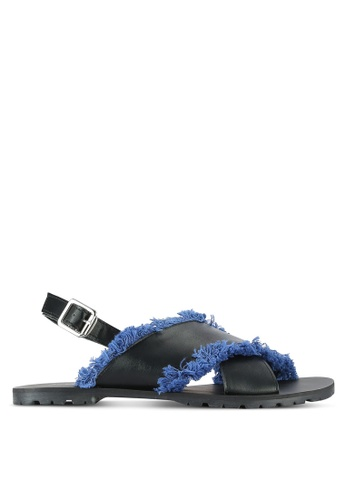 Something Borrowed black Fringed Slingback Sandal 159B2SHD8941A7GS_1