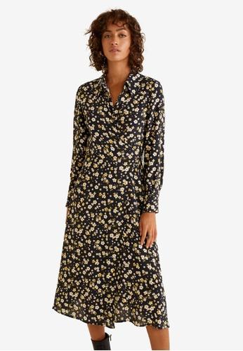 Mango yellow Floral Print Dress CCBFDAACF79A08GS_1