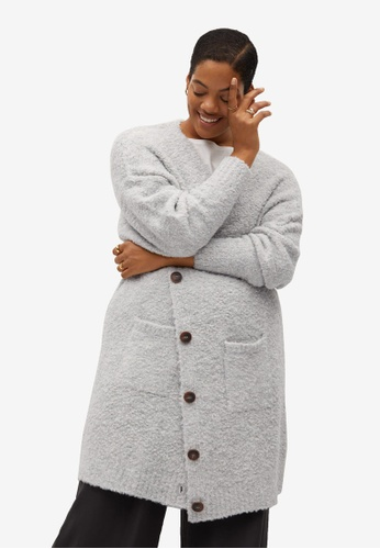 Violeta by MANGO grey Plus Size Textured Knit Cardigan 04882AAA15BBAFGS_1