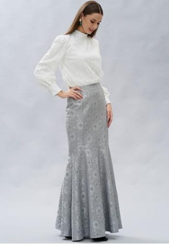 Loveaisyah multi Victoria White Top & Silver Mermaid Skirt Set D5820AA7D7F30FGS_1