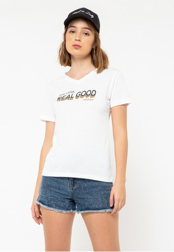 COLORBOX white Real Good V-Nect T-Shirt 027B5AA10436B2GS_1