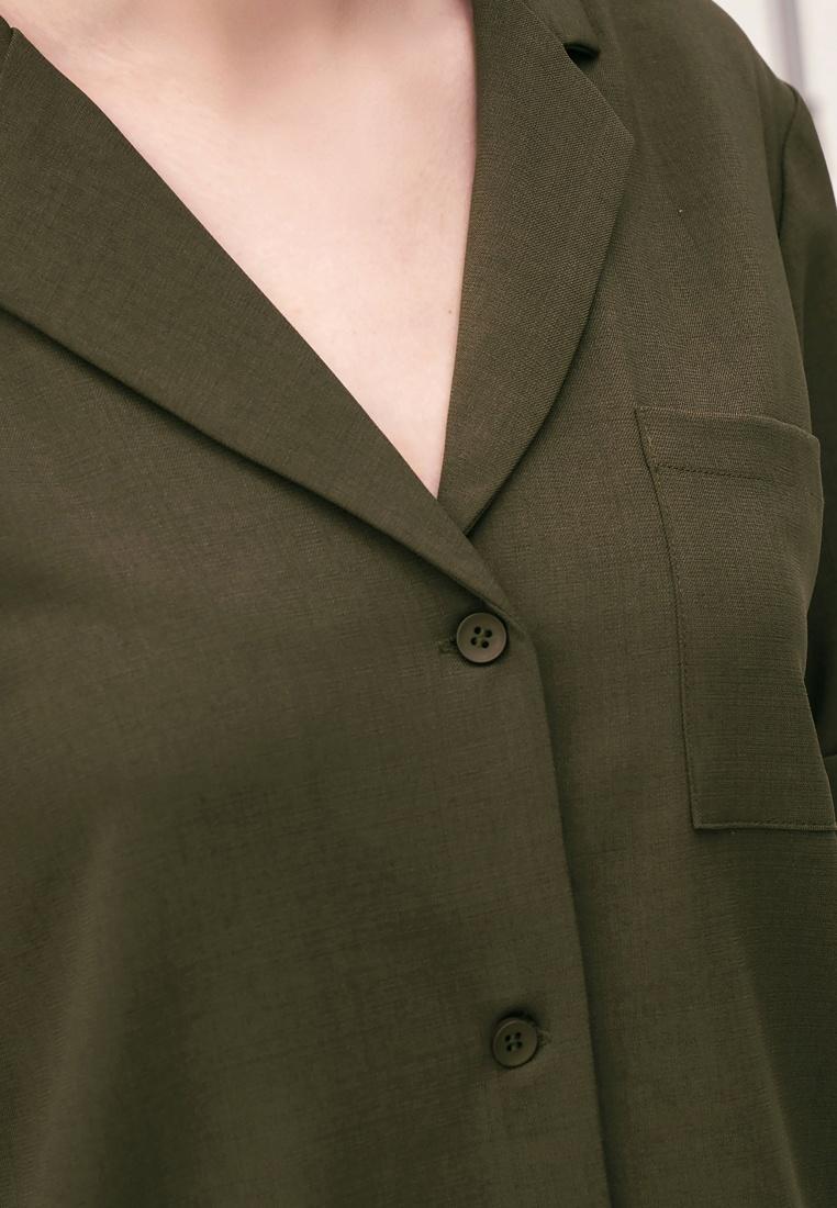 Army Green Pocket Shirt Crop Kodz tqzBXX