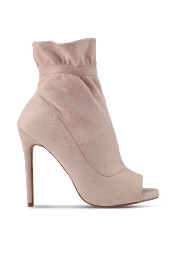 MISSGUIDED pink Gathered Ankle Peep Toe Boots MI511SH0SP8IMY_1