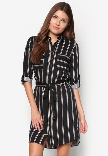 條紋繫帶襯衫式洋裝,zalora 手錶 評價 服飾, 正式洋裝