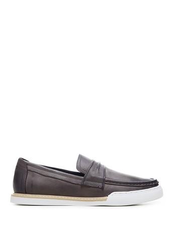 Minarno grey Minarno Grey Leather Boat Loafers 130-01 729EESH3BDCED3GS_1