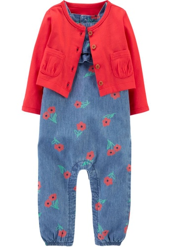 Carter's blue CARTER'S Girl Red Cardigan & Denim Overall Set ACE56KA02A52FFGS_1