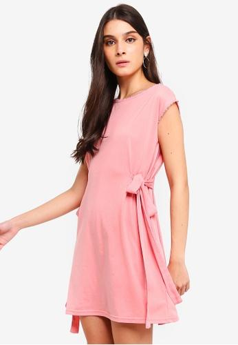 ZALORA pink Side Ties Shift Dress 01893AAB9A92EEGS_1