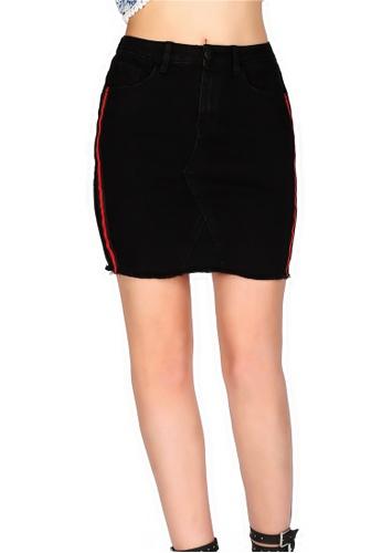 London Rag black Black Cotton Stretchable Skirt C6FE9AA02DB299GS_1