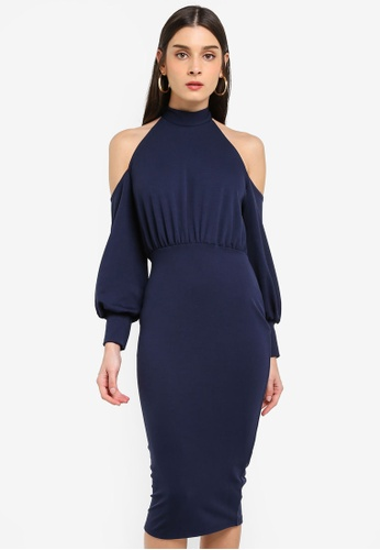 MISSGUIDED navy Halter Cold Shoulder Midi Dress 501CAAA707E000GS_1