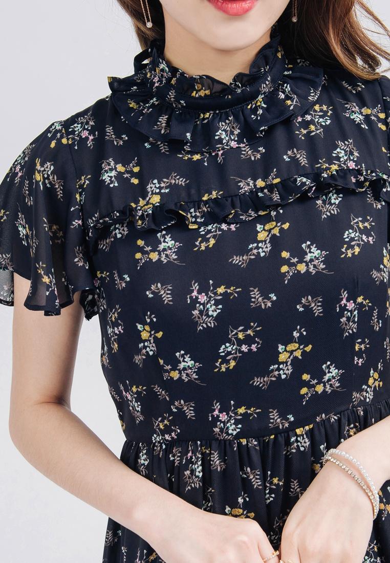 Maxi YOCO Dress Dark Floral Blue Ruffled B7U8w8