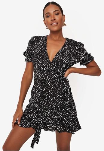 MISSGUIDED black Puff Sleeve Ruffle Hem Tea Dress 37AF8AAE8F7D06GS_1