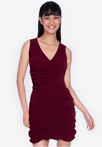 ZALORA BASICS red Ruched Detail V Neck Dress 56D28AA09B05E9GS_1