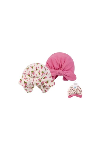 Little Kooma pink Hudson Baby 2Pc Turban Cap Hat Set 00554CH Wild Flowers 19C09KCC104FAEGS_1