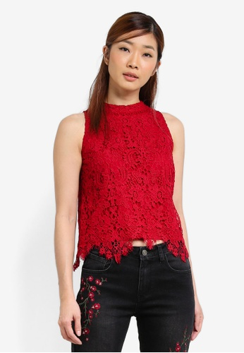 Something Borrowed red Sleeveless Cut In Lace Top 09EC9AA67992AEGS_1