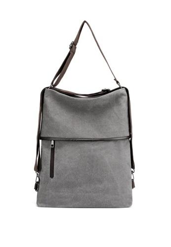 Lara grey Women's Canvas Zipper Backpack Shoulder Bag - Grey 614B7AC4FFC4A0GS_1