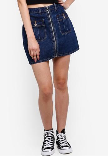Something Borrowed 海軍藍色 拉鍊Mini 丹寧 Skirt E506EAA0C25696GS_1