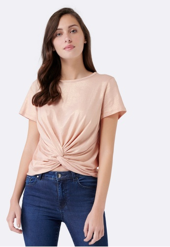 Forever New gold Whitney Metallic Twist Front Crop DCFB5AAB72DF37GS_1