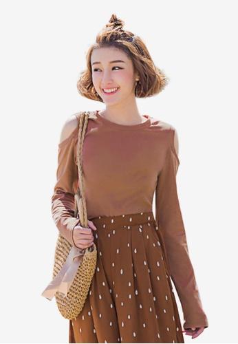 Tokichoi brown Off Shoulder Long Sleeve Top 6EEABAA20CCD04GS_1