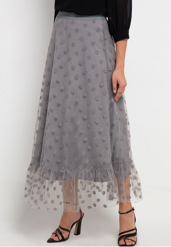 Icons grey Ruffle Hem Dotted Tulle Skirt 88FBFAAA2512C3GS_1