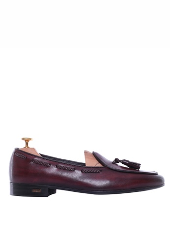 Zeve Shoes red Zeve Shoes Belgian Loafer - Red Burgundy With Tassel (Hand Painted Patina) 28307SH26DC449GS_1