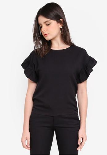 ZALORA black Ruffle Sleeve Top 089CEAA91A76E8GS_1