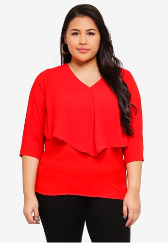Ex'otico red Plus Size 3/4 Sleeve V/Neck Blouse 376FFAA0581547GS_1