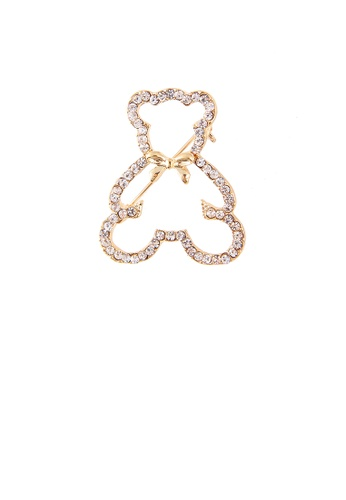 Glamorousky white Simple and Cute Plated Gold Hollow Bear Brooch with Cubic Zirconia BB020AC4A75F9DGS_1