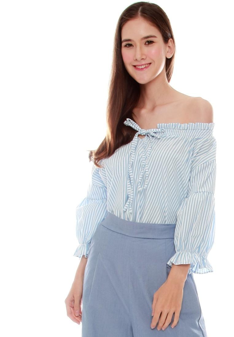 Front Tie Light JOVET Striped shirt Blue x0w4B7q5B