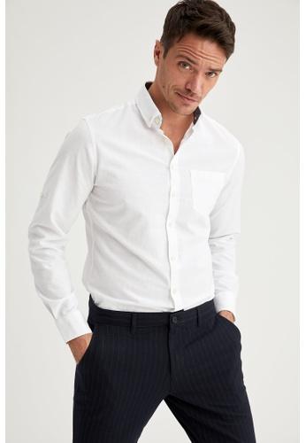 DeFacto white Man Woven Long Sleeve Shirt FDFE6AA73ADD3CGS_1