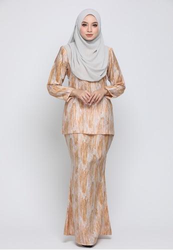 Kurung Moden Eryna - Orange from Nur Shila in Orange