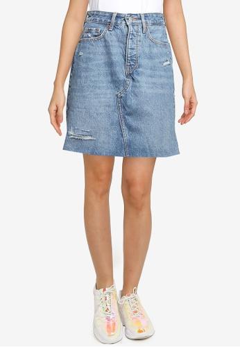 Old Navy blue High Rise Medium Wash Mini Skirt EB7D5AAF10B33CGS_1