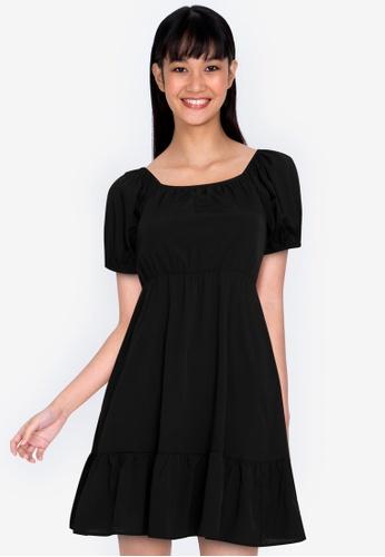 ZALORA BASICS black Square Neck Puff Sleeve Dress 41E68AAEE2E84EGS_1