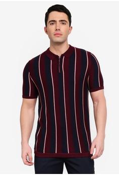 743fff110f8 River Island red Zip Neck Stripe Polo Shirt 0E50DAAF262B6EGS 1