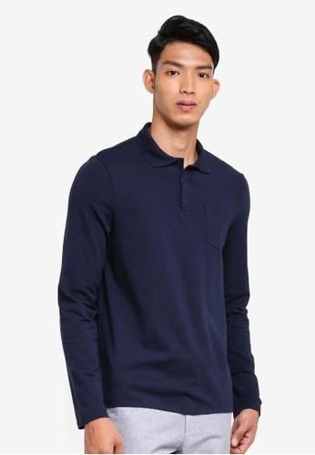 Burton Menswear London 海軍藍色 長袖POLO衫 E9AF2AA55546E3GS_1