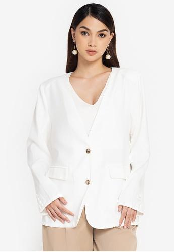 ZALORA WORK white Oversized Lapelless Blazer 6D904AA749C59DGS_1
