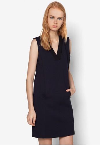 V 領口袋無袖連身裙,zalora 內衣 服飾, 洋裝