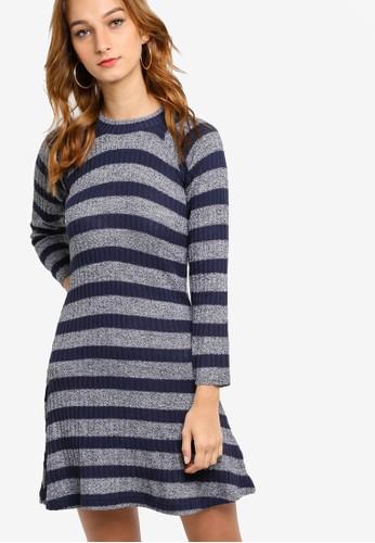 esprit 台北羅紋線條長袖連身裙, 服飾, 服飾