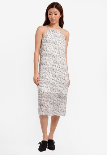 ZALORA white Halter Cami Midi Dress 6482FAA142E6C1GS_1