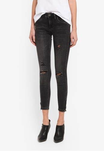 ONLY grey ONLY ONE Kendell Ankle Zip Skinny Jeans ON573AA0T0C1MY_1