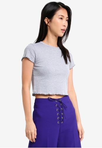 TOPSHOP grey Frill Short Sleeve T-Shirt TO412AA0SZ5EMY_1