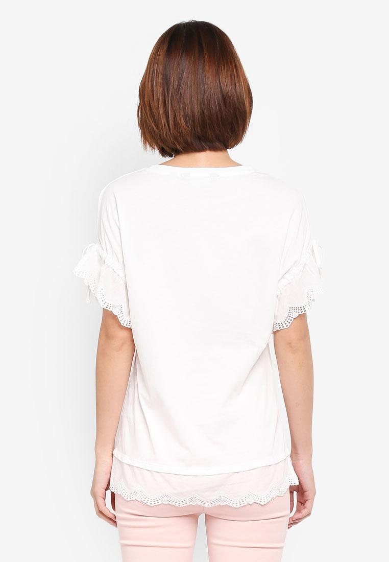 Ivory Sleeve Broiderie Perkins T Cream Shirt Dorothy ZqwgWHU5H