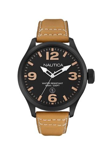 Nautica brown Nautica Jam Tangan Pria - Brown Black - Leather Strap - A14633G  NA209AC0V5WVID_1