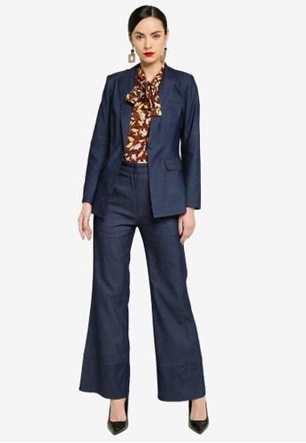 Zalia navy Single Button Suit 7AA9FAA66CE1C8GS_1