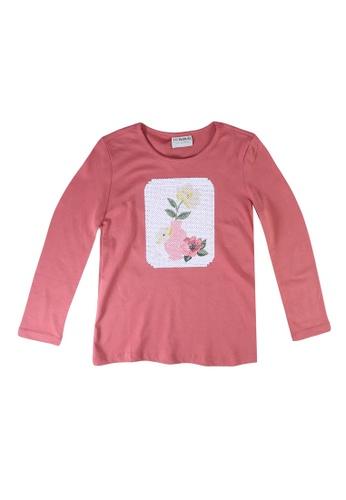 LC Waikiki pink Girl's Spangled Cotton T-Shirt 3E04CKAE6F796EGS_1