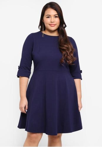 Dorothy Perkins navy Plus Size Bow Sleeve Detail Dress 20DDDAAD7A777EGS_1
