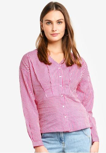 Vero Moda pink Maji Long Sleeve Pin Shirt 3F78EAAB3179A0GS_1