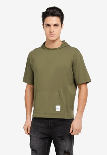 Sparrow Green green Hugo Ceramic Cotton Oversized Crew Neck Hoodie Tee SP065AA0SJXPMY_1