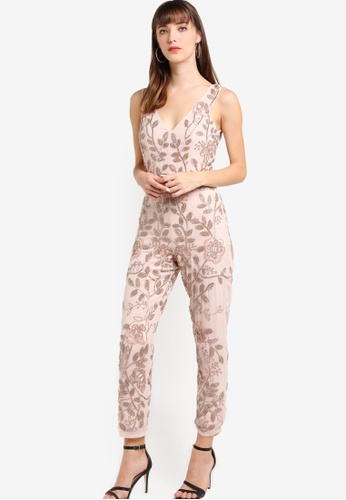 Miss Selfridge red Premium Rose Gold Embellished Jumpsuit MI665AA39HEEMY_1